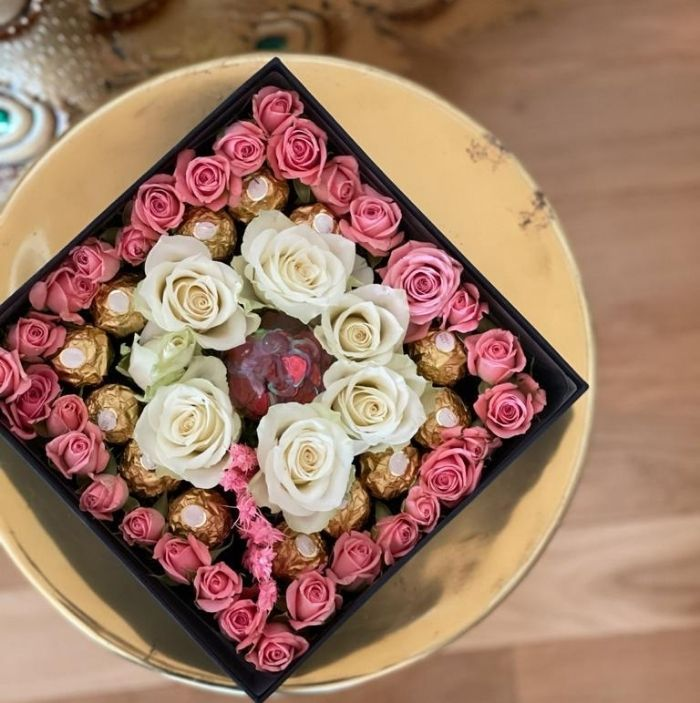 Coloured Roses In A Square Box