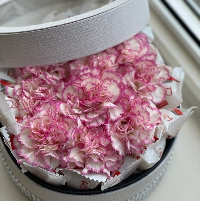 Coloured Roses In A Round Box